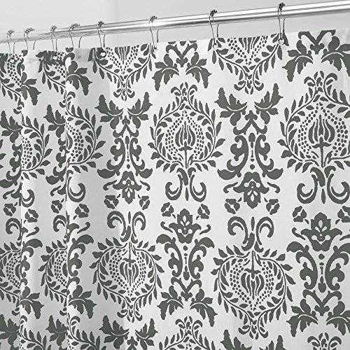 (mDesign STALL SIZED Decorative Damask Print - Easy Care Fabric Shower Curtain with Reinforced Buttonholes, for Bathroom Showers, Stalls and Bathtubs, Machine Washable - 54
