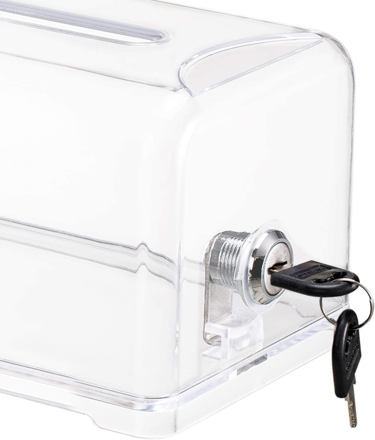 7.5 x 4.5 x 4 Polmart Acrylic Donation Box with Lock Ballot Box Donation Boxes for Fundraising with Lock,Clear Suggestion Box Storage Container for Business Cards