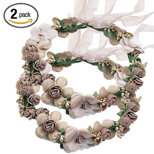 Flower Crown Headband Rattan Vine Wreath Garland Floral Wedding Bridal Hair Hoop Leaf Ribbon Party Decoration Headdress Headwear Christmas Handmade Headpiece Girls Kids Hair Accessories 2 Pack (Bridal Headpiece Flower Girl Wreath)