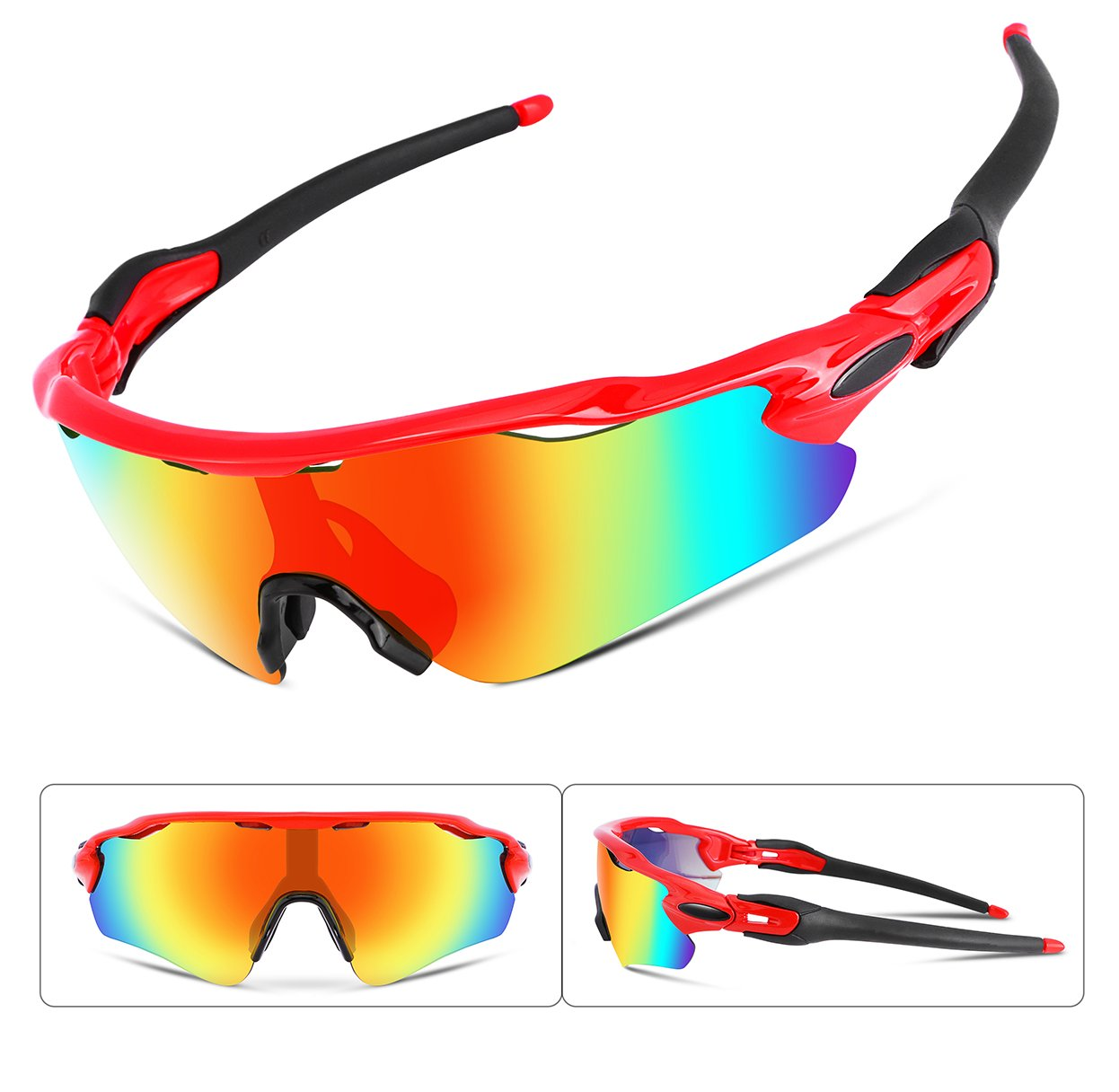 FEISEDY Polarized Sports Sunglasses Changeable Lenses TR90 Frame Cycling B2280 (1, 52) by FEISEDY