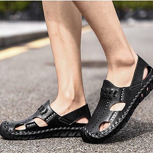 3 spiaggia da sandali Brown traspiranti EU 42 Black 2 Size sandali da regolabili Sandali uomo antiscivolo in pelle Color 7SdaxI88wq