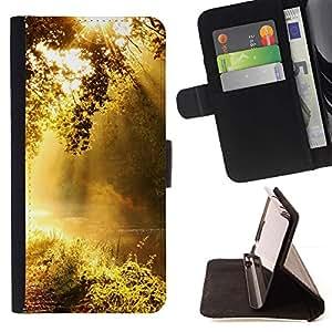 For Samsung Galaxy S5 V SM-G900 Case , Amanecer- la tarjeta de Crédito Slots PU Funda de cuero Monedero caso cubierta de piel
