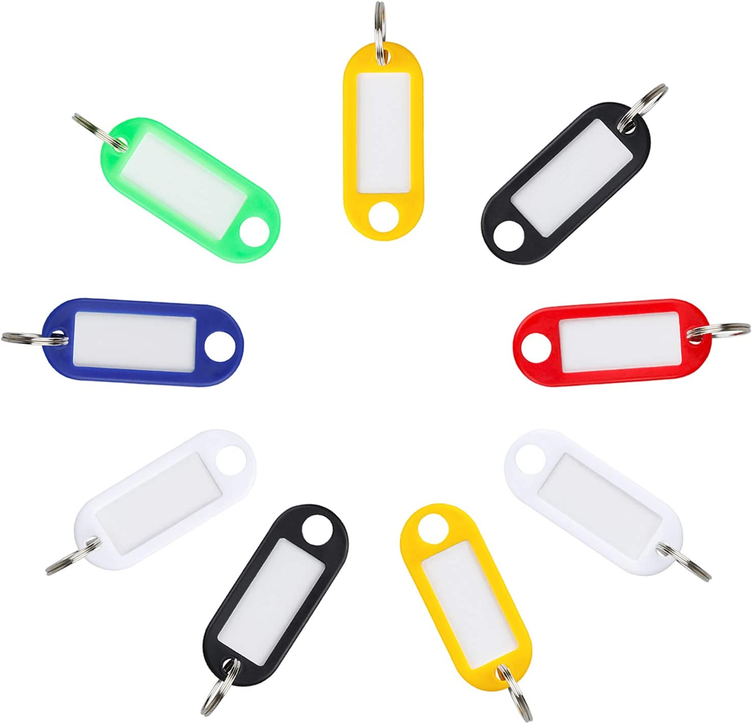 Uniclife 20 Pack Plastic Key Tags with Split Rings Label Window Assorted Colors