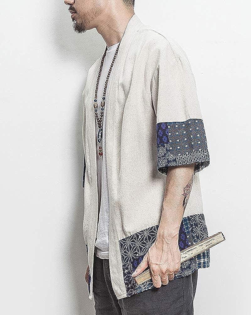 ZhuiKunA Hombres Mujer Camisa Kimono Estilo Japon/és Estampado Holgado