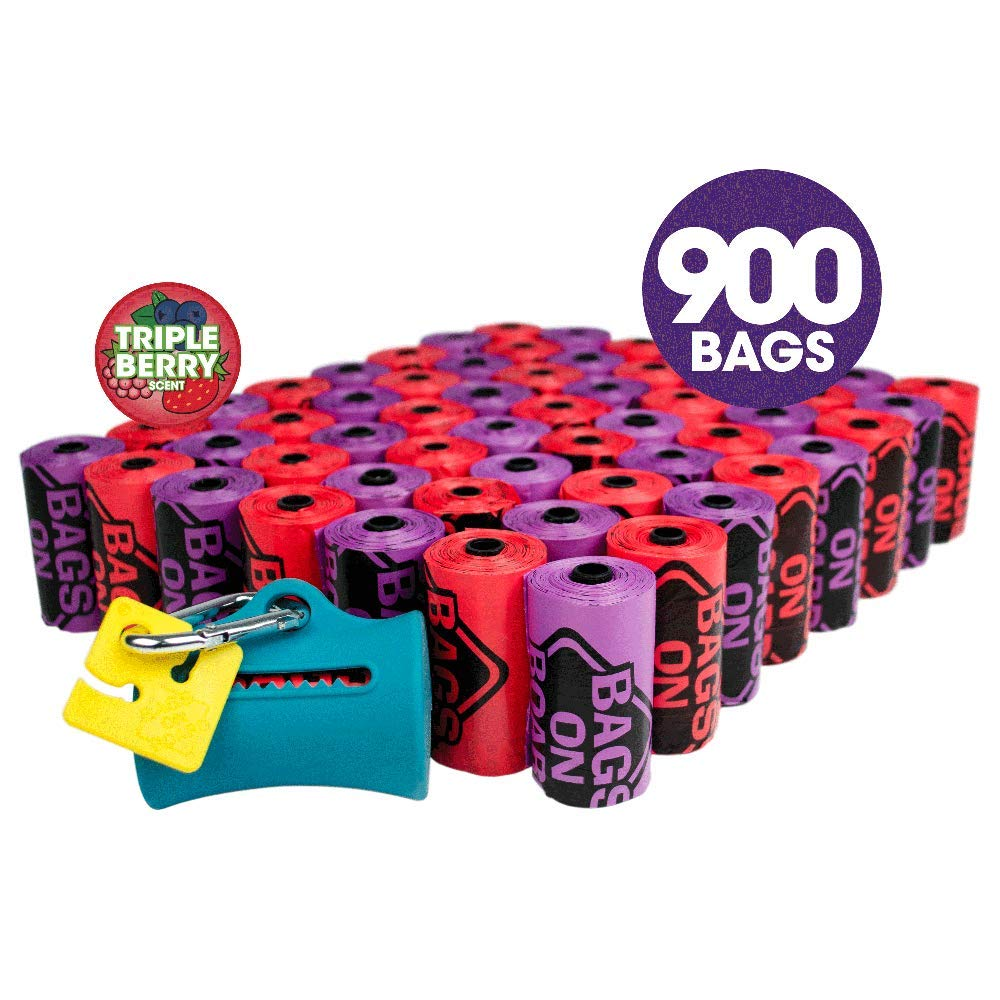 Bags on Board Odor Control Dog Poop Bags & Dispenser   Triple Berry Scent   900 Waste Pickup Bags
