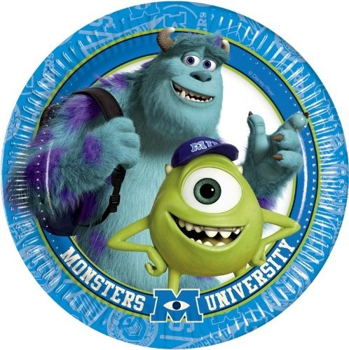 Monsters University Inc 8 Pack Party Accessories Plates Paper