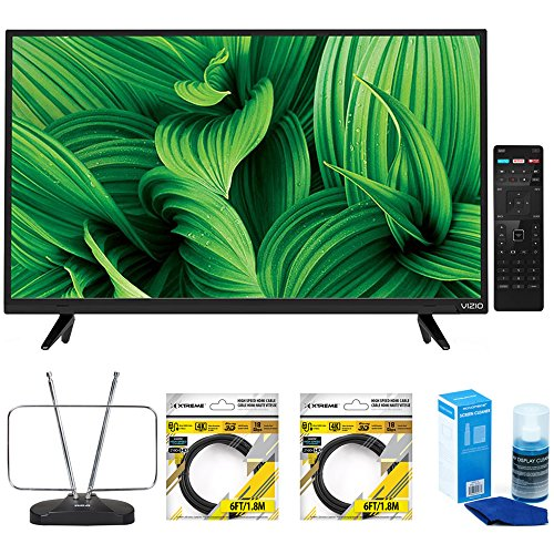 VIZIO D-Series 43-Inch Full-Array LED TV (D43n-E1) with Durable HDTV and FM Antenna, 2 x 6ft High Speed HDMI Cable Black & Universal Screen Cleaner for LED TVs Large Bottle (Vizio D Series D43n E1 43 1080p)