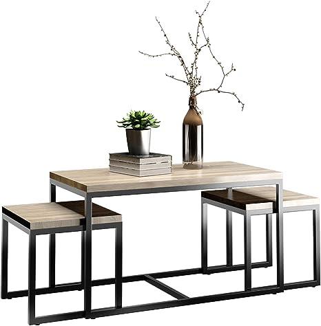 Costway Side Table Set Of 3 Square Coffee Table Sitting Table Coffee Table Living Room Side Table Hallway Table Amazon De Kuche Haushalt