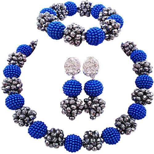 aczuv Simulated Pearl and Crystal Ball Beaded Necklace Jewelry Set African Wedding Beads (Royal Blue - Necklace Set Pearls Blue