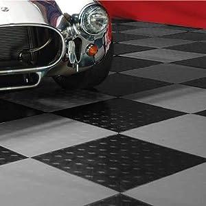 MotoFloor Modular Garage Flooring Tiles 48 Square feet per Box 1 x 1 Tiles (Black & Alloy)