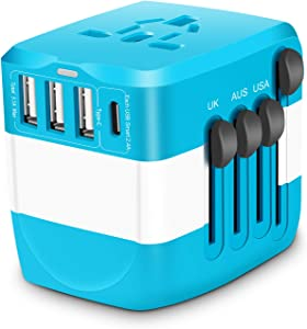 Travel Adapter Universal 2300W 110-250V 10A Power Adapter w/ 4 USB Ports 1 AC Outlet Travel Charger Plug Adapter for Phone Camera Hair Dryer and More Electronics in EU UK US AU Over 150 Countries
