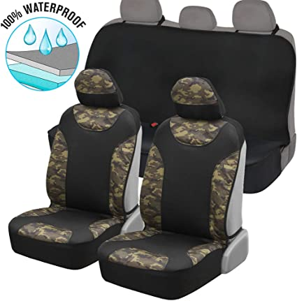 PREMIUM HEAVY DUTY WATERPROOF CAMOUFLAGE GREY CAMO SEAT PROTECTORS COVERS 1+1