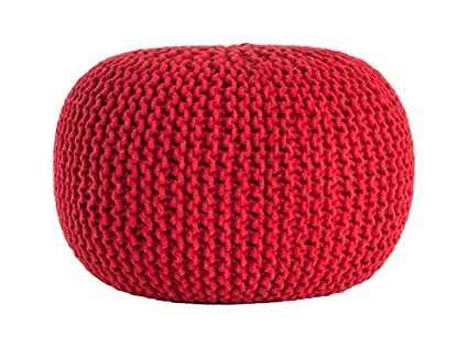 Amazon Chic Twisted Rope Pouf Knitted Cotton Round Ottoman Red