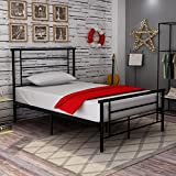 Metal Beds with Headboard and Metal Slat for Girls Kids Twin Size Black