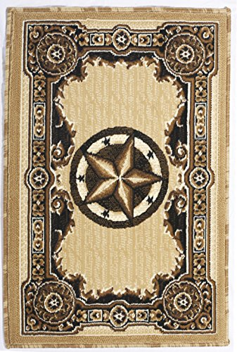 Rugs 4 Less Collection Texas Lone Star State Novelty Door Mat Area Rug R4L 723 Berber / Beige (2'X3') (Horseshoe Bathroom Rug)
