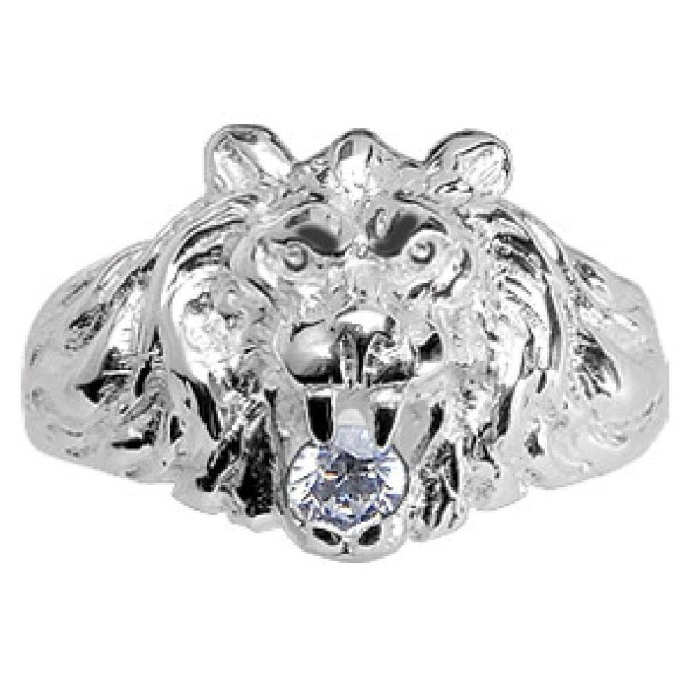 So Chic Jewels - Mens 925 Sterling Silver Big Size Lion Design White Cubic Zirconia Signet Ring - Size 11.5