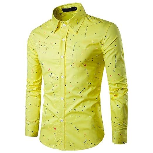 Hombre Camisa Manga Larga Business Tiempo Libre Fácil de planchar boda Slim Fit – Camiseta Blusa Tops, color amarillo, tamaño 3XL: Amazon.es: Industria, empresas y ciencia