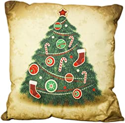 39d2ec7ee3 WANGSCANIS Christmas Pillowcase Cotton Linen Square Cushion Cover Standard  Pillowcase (Santa Tree)