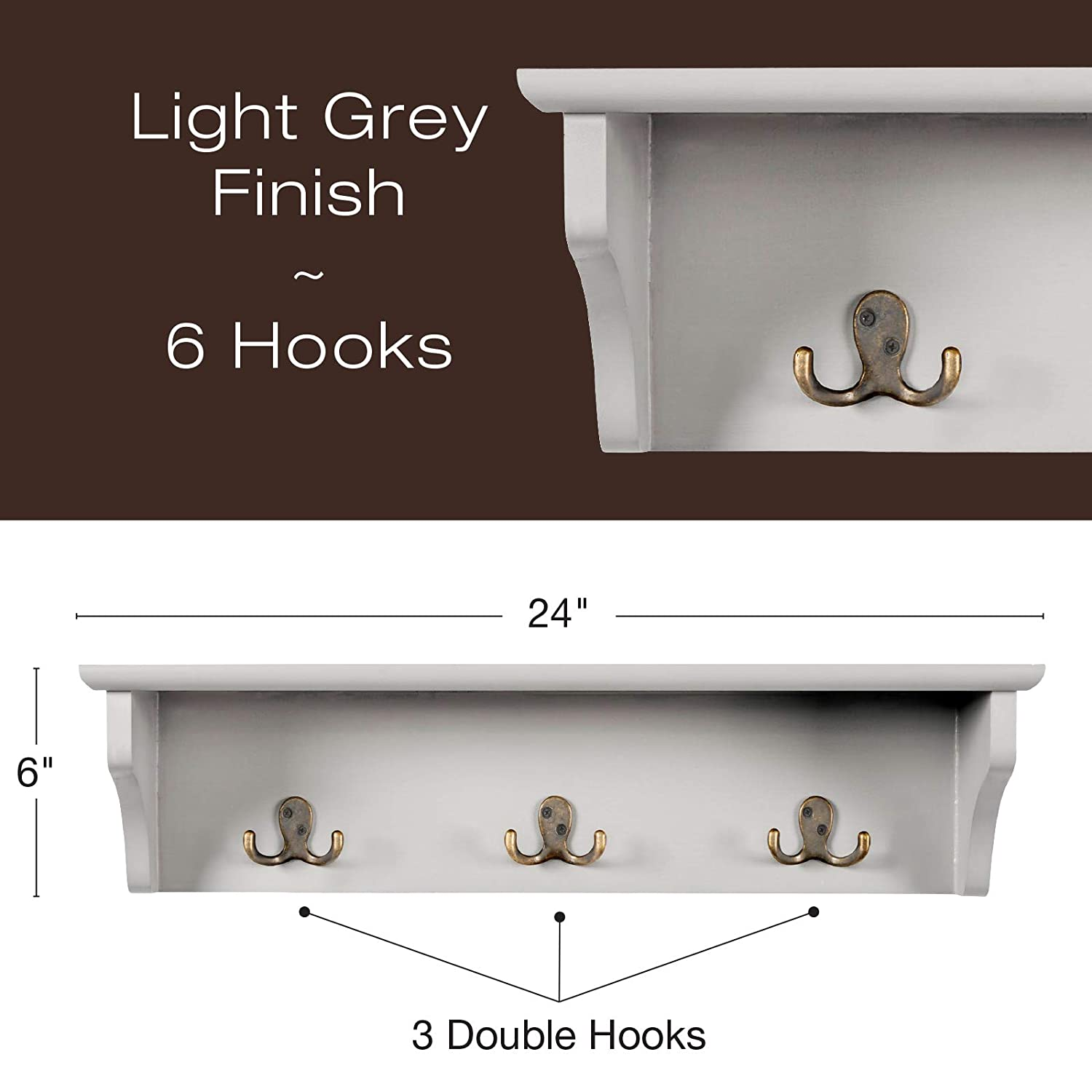 24x6 Use as coat rack Mudroom Kitchen Grey key holder Perfect for Entryway hat organizer Foyer Bathroom Hand Painted Grey Wooded Wall Mounted Hanging Entryway Shelf with 6 hooks Hallway