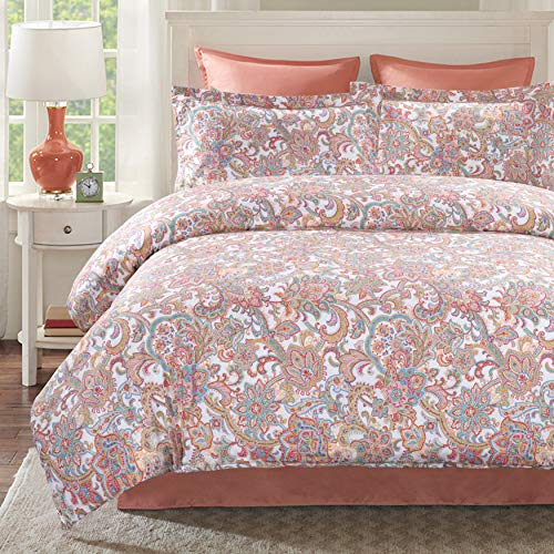 Moonleaf 100% Cotton Printed Duvet Cover Set - Reversible Paisley Duvet Cover with 2 Matching Pillow Shams (Vogue, Queen(90