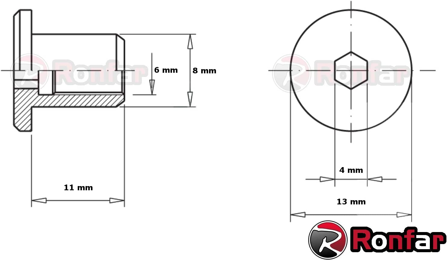 RONFAR H/ülsenmutter mit Flachkopf-Innensechskant M6 x 15 x 12 mm 50 St/ück