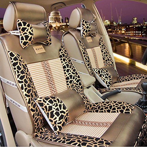 Moonet Universal Leopard Print PU Leather Car Seat Covers Cushions Full Set 6pcs Gold