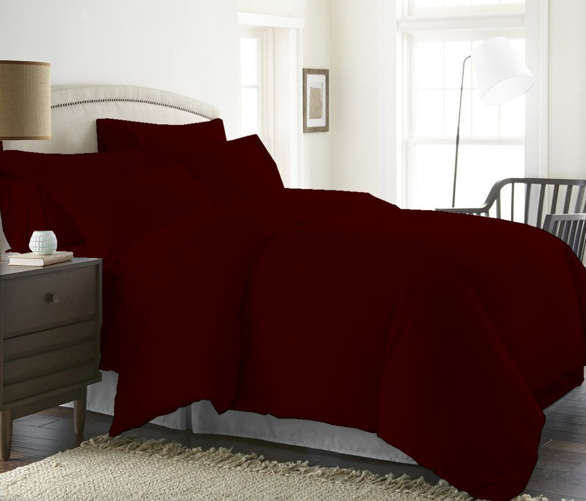 1200 Thread Count 1 Piece Duvet Cover (Duvet Cover with Zipper Closure & Corner Ties) 100% Pima Cotton Luxurious & Hypoallergenic Solid By Serene Linens (California King/King, Wine)