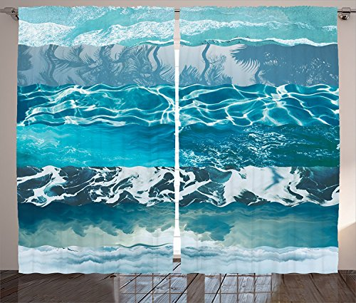 Nautical Decor Curtains Abstract Major Gradient Flowing Waves Motif Liquid Shallows Pure Freshness Motion Image Living Room Bedroom Decor 2 Panel Set Blue White