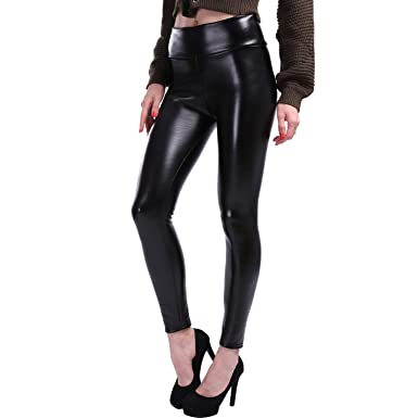 5e4cea68a4af7 S-5XL Plus Size Leather Leggings Women High Waist Stretch Slim Black Legging  Fas at Amazon Women's Clothing store: