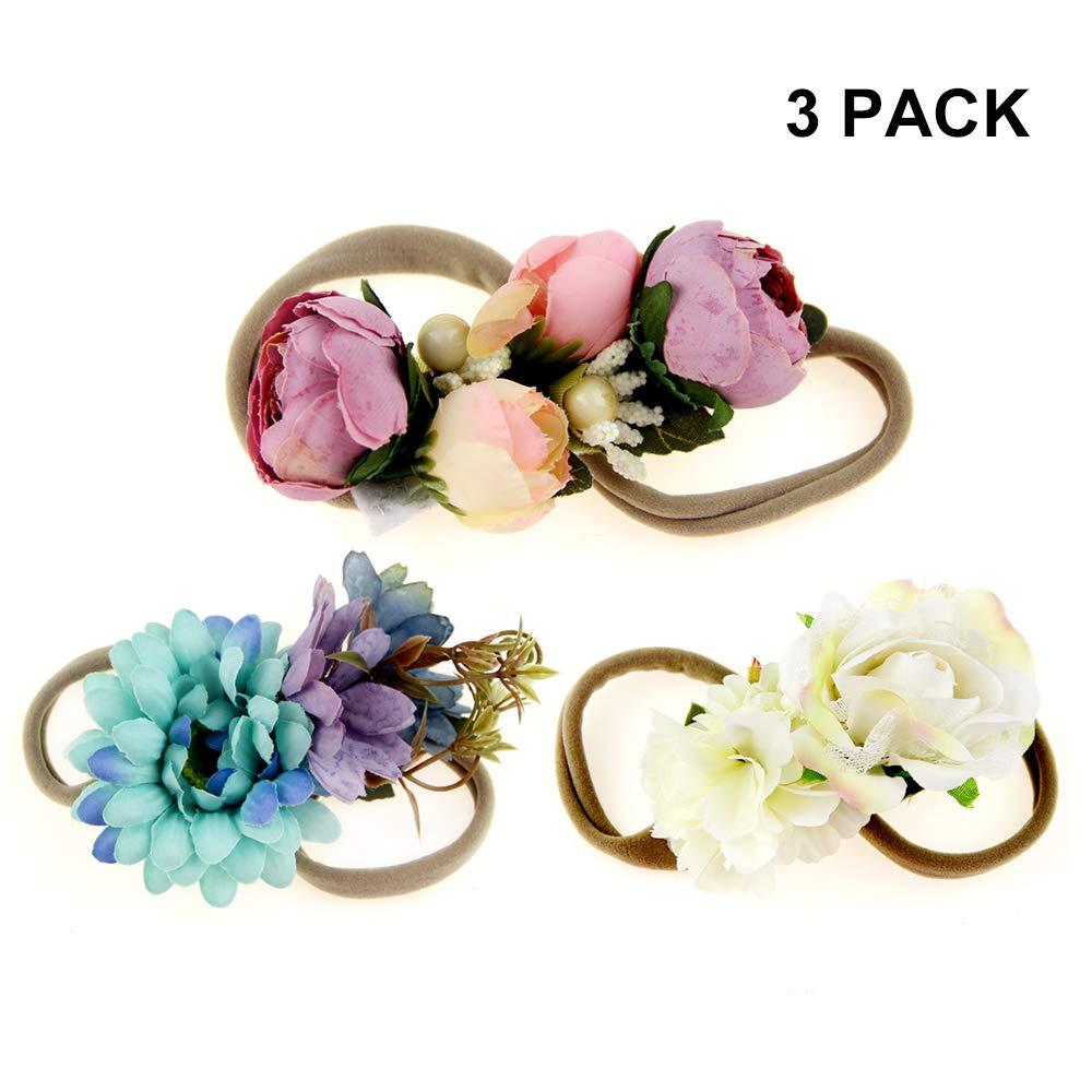 IEUUMLER Elastic Flower Baby and Newborn Girls Floral Props Headband-Set of 2 Hair Accessories (B)