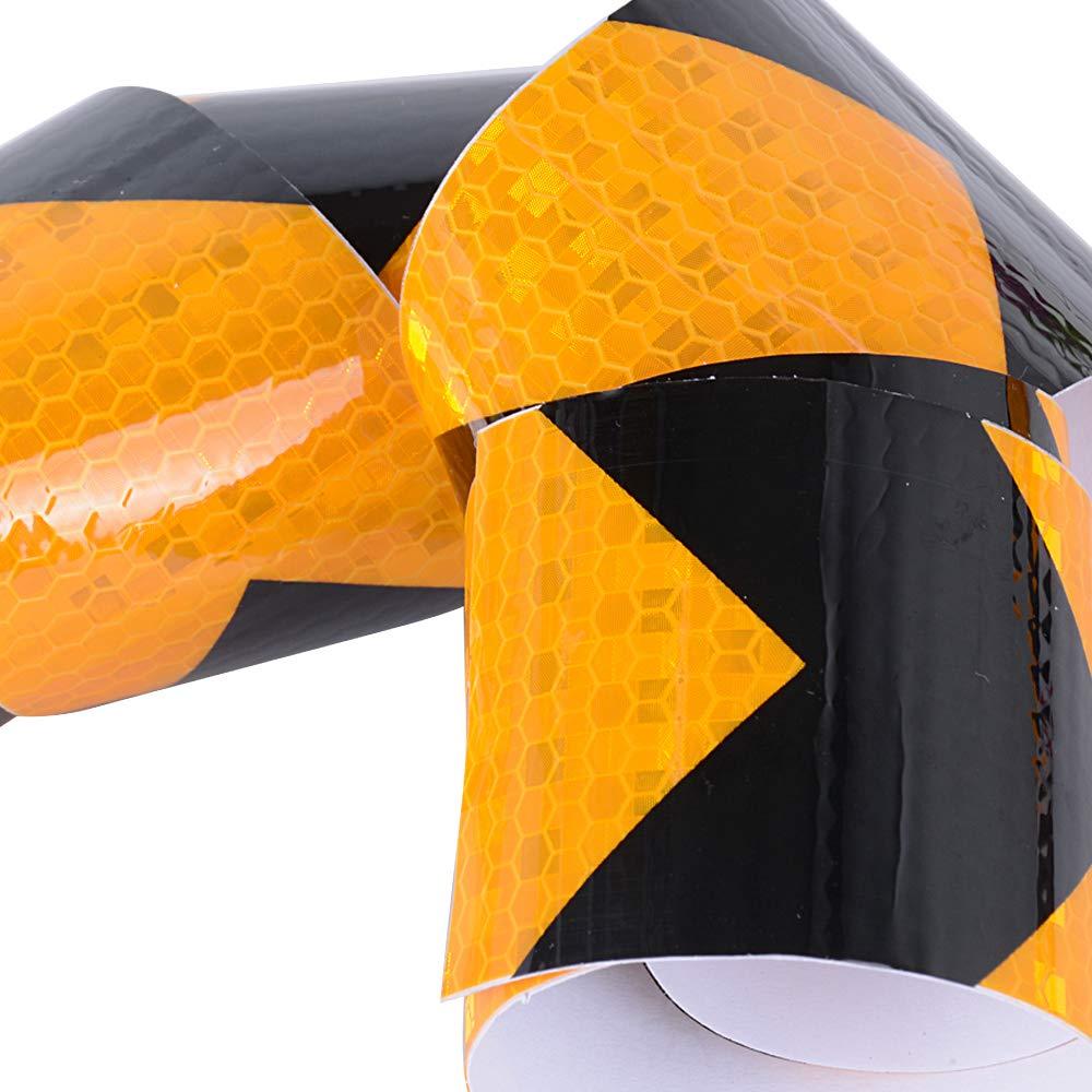 SERWOO 4 Rotoli x 5cm x 3m Nastro Riflettente Adesivo Autoadesivo Etichetta Avvertimento Attenzione Pellicola di Sicurezza Segnale di Avvertenza Giallo Nero