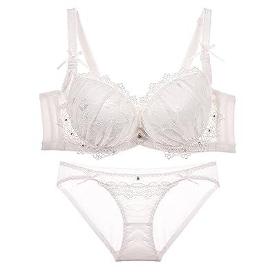 0c15bfb68cd Japanese Summer lace Underwear Bra Set White Small Breasts Lingerie Put  Adjustable Ladies
