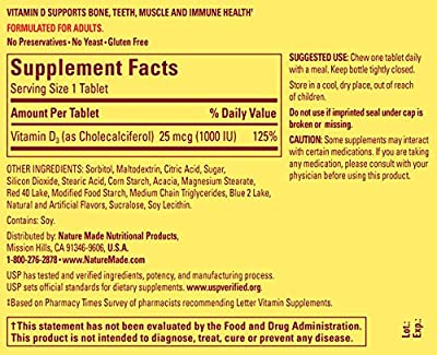 Nature Made Adult Chewable D3 1000 IU Grape Flavored Tablets, 120 Ct