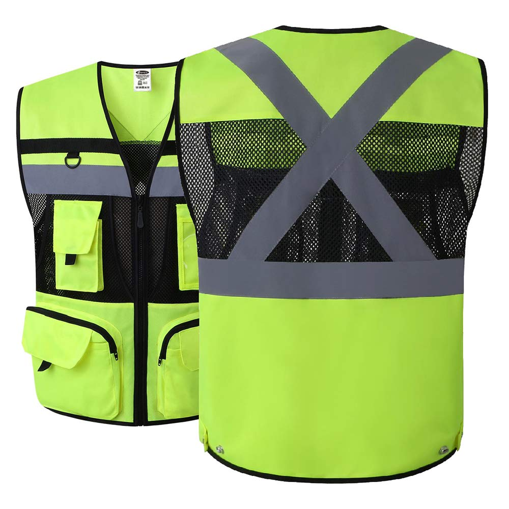 JKSafety 10 Pockets Class 2 High Visible Reflective Safety Vest Zipper Front Large Back Pockets Breathable and Mesh Lining (X-Large, Yellow Black) by JKSafety (Image #2)