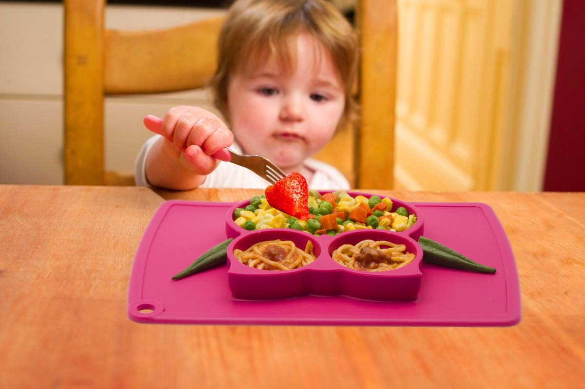 New Car-Blue Portable Non Slip Suction Plates for Children Babies and Kids BPA Free FDA Approved Baby Dinner Plate Silicone Divided Toddler Plates