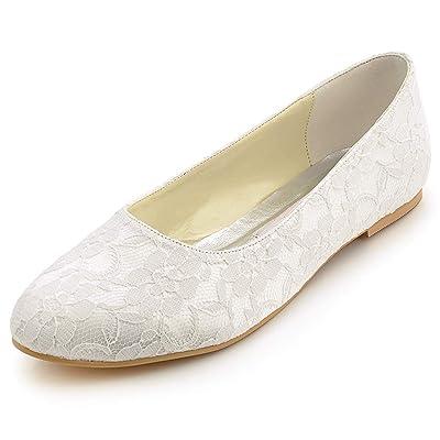 ElegantPark Wedding Shoes for Bride Lace Wedding Flats Comfortable Women Bridal Shoes Flats Closed Toe Ballet Flats   Flats