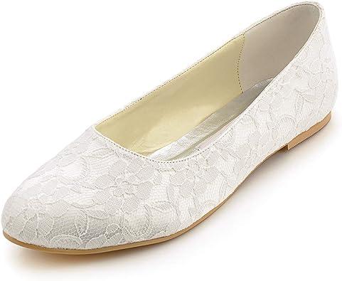 Amazon Com Elegantpark Wedding Shoes For Bride Lace Wedding Flats Comfortable Women Bridal Shoes Flats Closed Toe Ballet Flats Flats