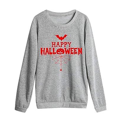 POLP Halloween Sudadera Sin Capucha Mujer Talla Grande Otoño Invierno Casual Camisetas de Manga Larga Suéter Cuello Redondo: Hogar