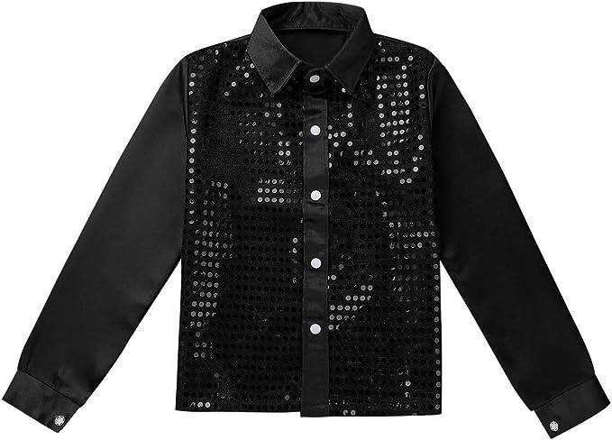 MSemis Kids Girls Boys Shiny Sequins Hip-hop Jazz Dance Shirt Choir Stage Performance Costume Long Sleeves Button Down Shirt