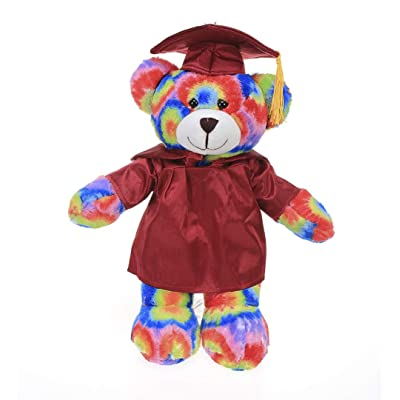 Plushland Tie Dye Bear Plush Stuffed Animal Toys with Box Present for Graduation Day, Personalized Text, Name or Your School Logo on Gown, Best for Any Grad School Kids (Red Cap and Gown): Toys & Games