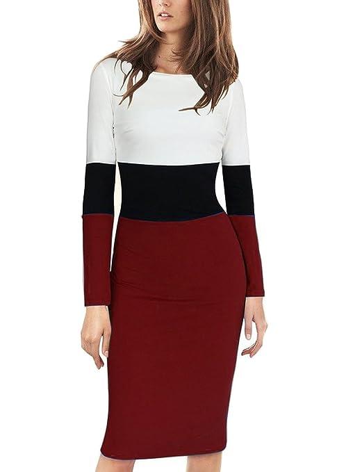 Viwenni Women's Elegant Long Sleeve Colorblock Wear to Work Sheath Pencil Dress(S,Blue)