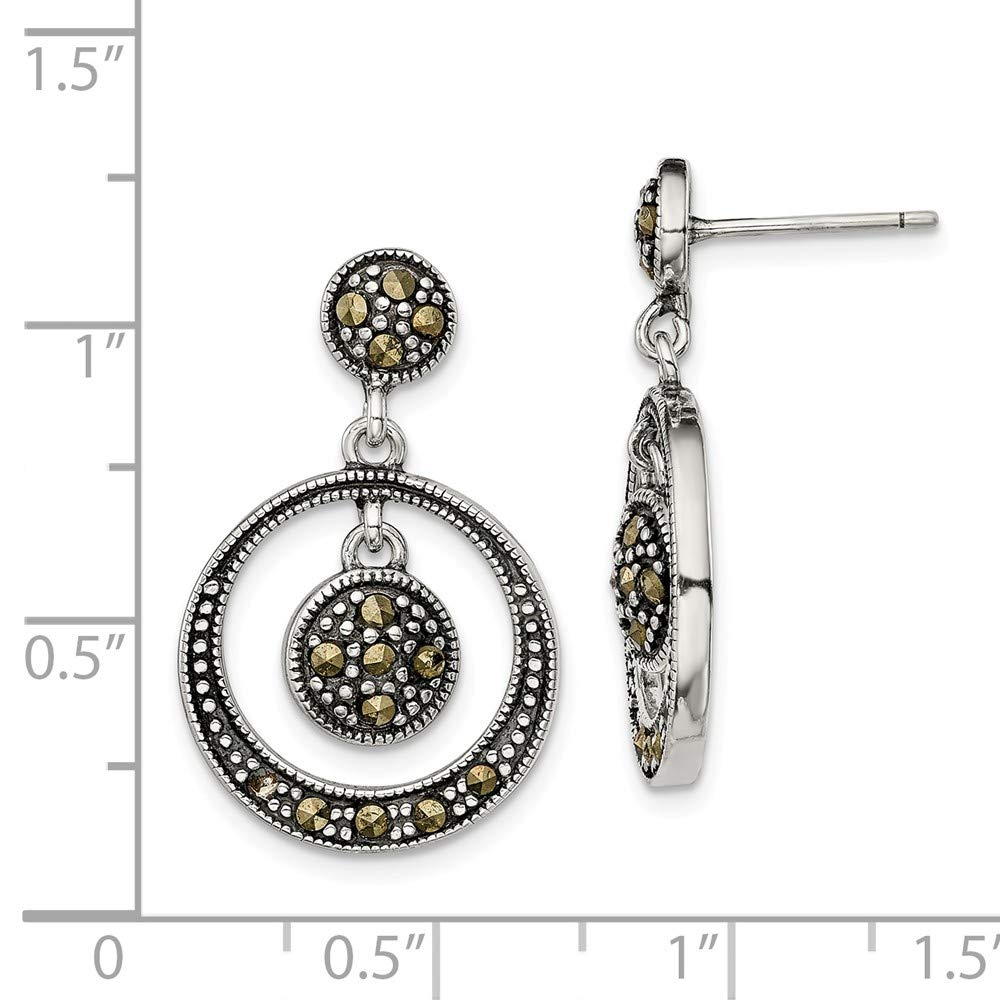 FB Jewels Solid Sterling Silver Onyx /& Marcasite Post Earrings