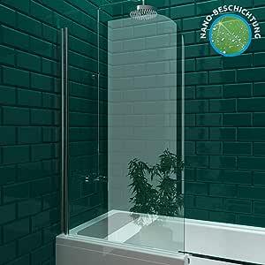 Mampara de vidrio auténtico, tabique para bañera y ducha, separador con cristal de seguridad, plegable, medidas aprox. 75 x 130 cm: Amazon.es: Bricolaje y herramientas