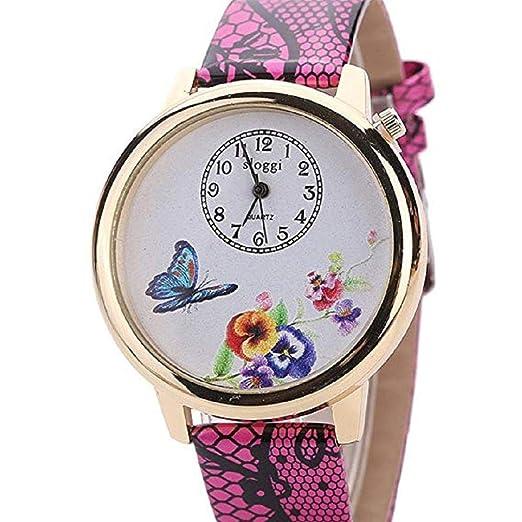 Scpink Relojes de Flores para Mujeres, Relojes exclusivos de Mujer de Moda analógica, Relojes de Mariposa Relojes Casuales para Mujeres Reloj de Cuero ...
