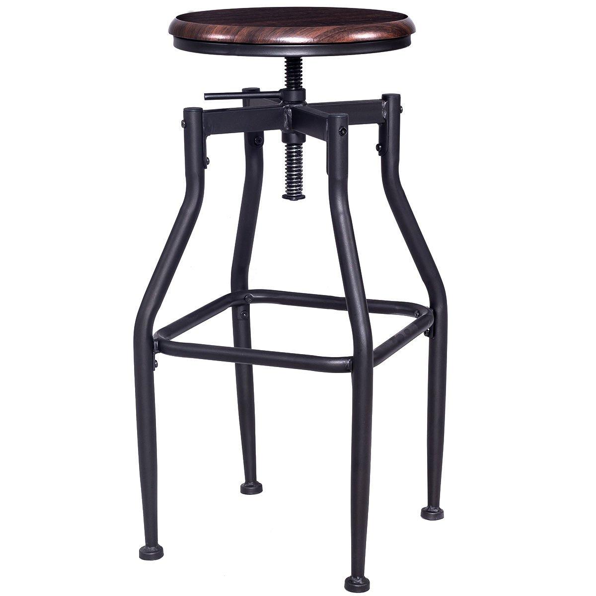 New Vintage Bar Stool Metal Design Wood Top Height Adjustable Swivel Industrial