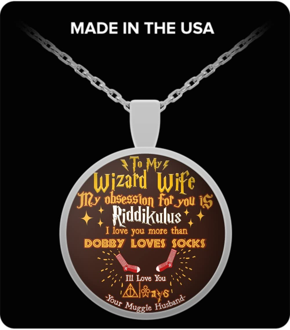 Harry Potter Couples Necklace for Wife My Obsession with You is Riddikulus I Love You More Than Dobby Loves Socks Funny Meaningful Silver Nickel Plated Quote Jewelry to My Wizard Wife