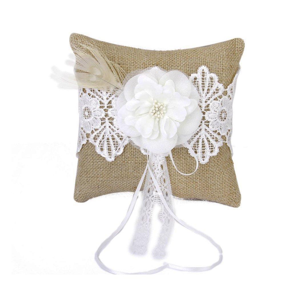 OULII Dell'annata della tela da imballaggio piuma rustico anello nuziale cuscino con raso nastri 8 pollici x 8 pollici