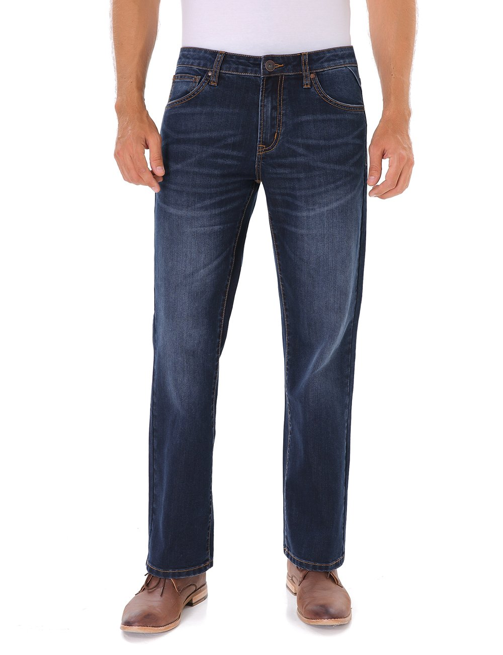 Indigo alpha Mens Regular Relaxed Stretch Straight Fit Jeans (801,W36/L34)