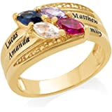 Gold Plated Mothers Ring with Birthstones - Personalized & Custom Made