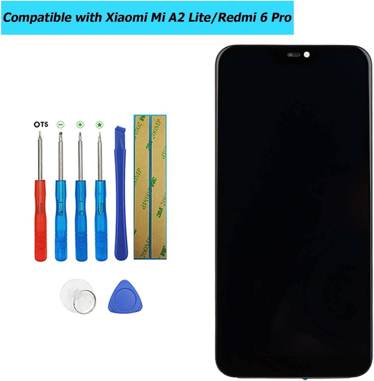Upplus - Pantalla LCD de Repuesto Compatible con Xiaomi Mi A2 Lite/Redmi 6 Pro, Pantalla táctil LCD con Marco y Juego de Herramientas (Negro)